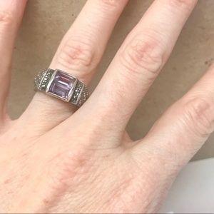 Vintage STERLING SILVER amethyst gemstone RING 7